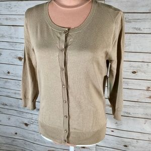 Susina Camel Tan Cardigan scoop neck 3/4 sleeve XS